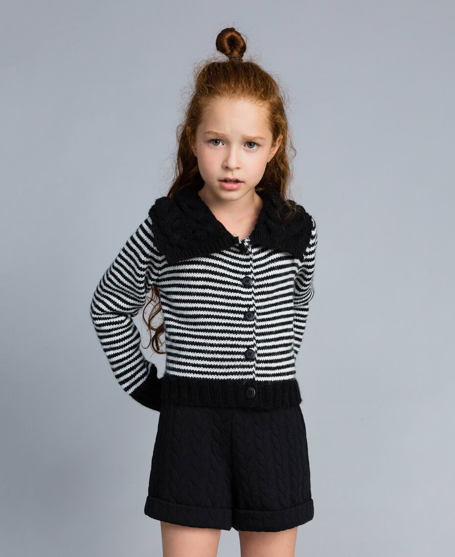 Cardigan in misto lana a righe Bicolor Nero / Off White Bambina GA83KA-0S