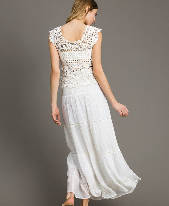 Skirt-dress with broderie anglaise White Woman 191LB2EDD-03