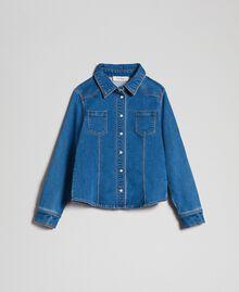 Рубашка с эффектом джинсовой ткани с карманами Средний Деним Pебенок 192GJ2511-0S