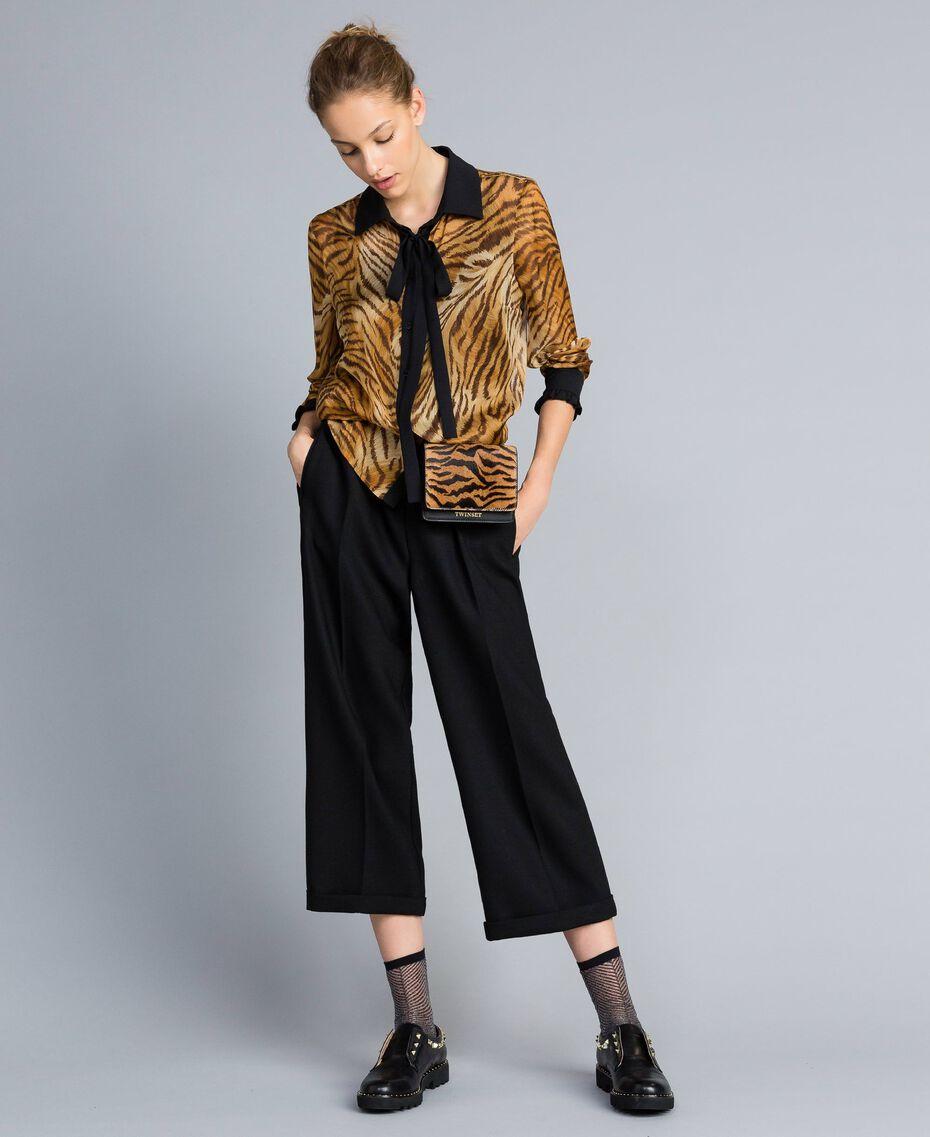 Cropped-Hose aus Bi-Stretch-Wolle Schwarz Frau TA8271-0T