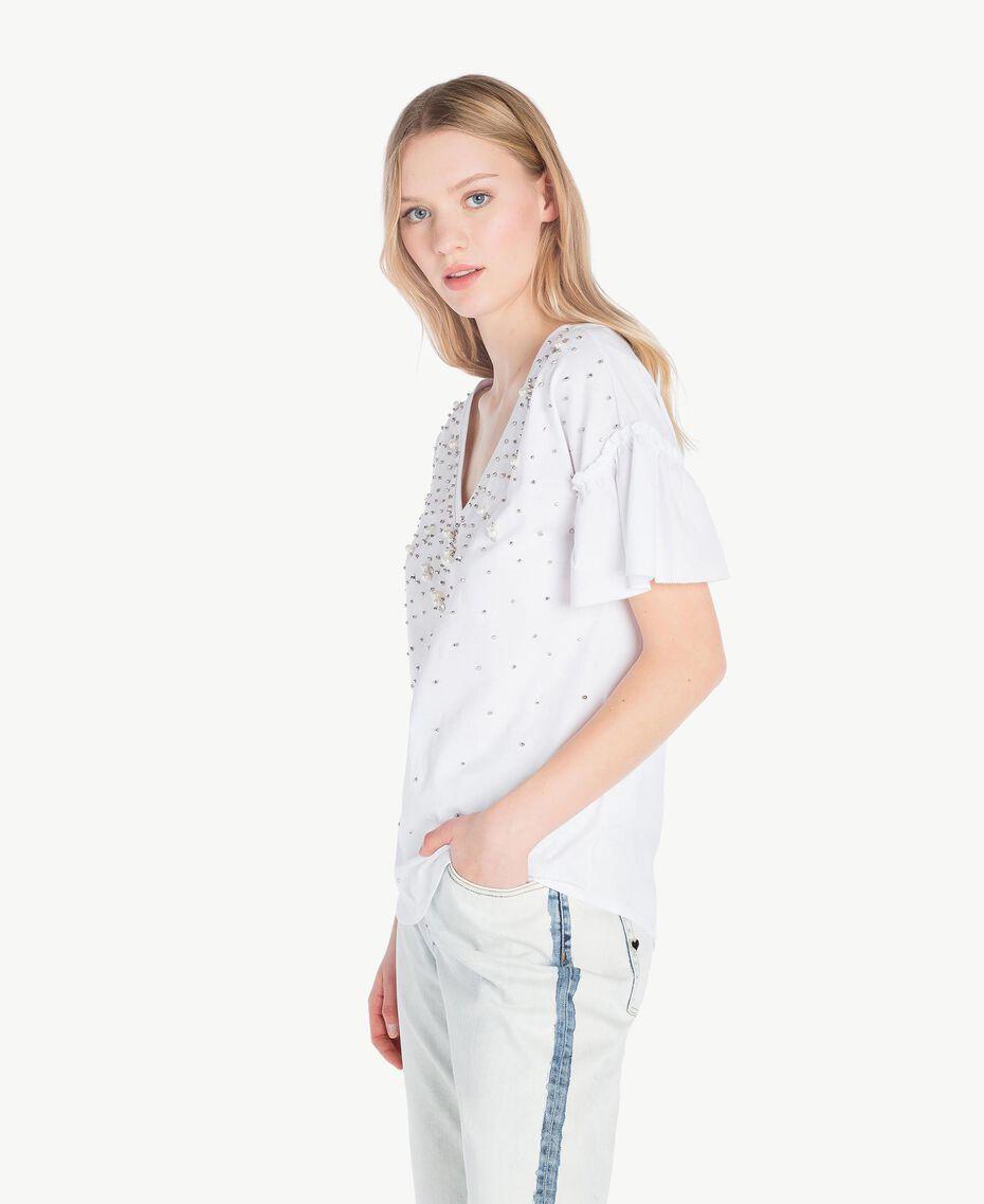 T-shirt broderie Blanc Femme YS82E3-02
