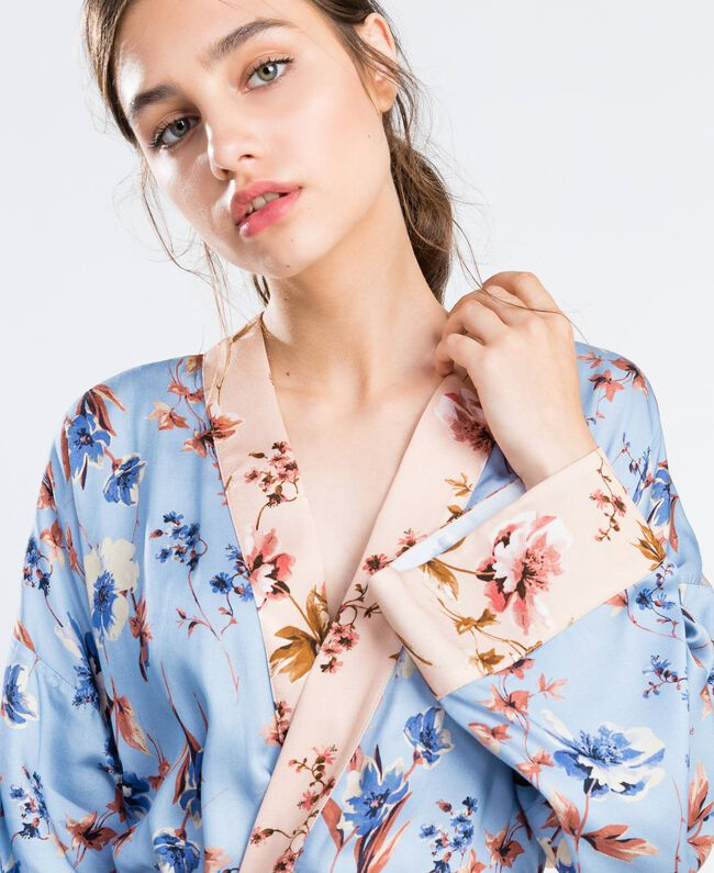 Robe de chambre longue imprimé floral Imprimé Rose Mélange Fleurs Femme IA8EVV-04