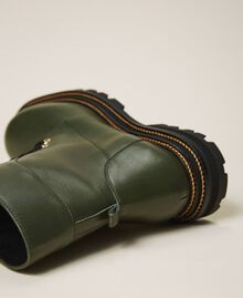 Tie-up leather combat boots Dark Olive Green Woman 202TCP182-04