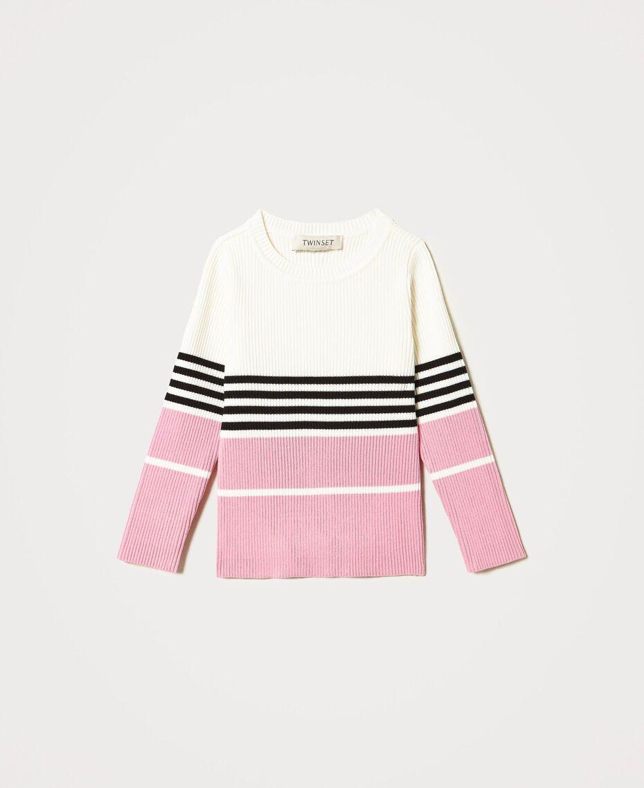 Pull color block côtelé Multicolore Blanc «Cassé» / Noir / Rose «Rose Bloom» Enfant 211GJ3500-0S