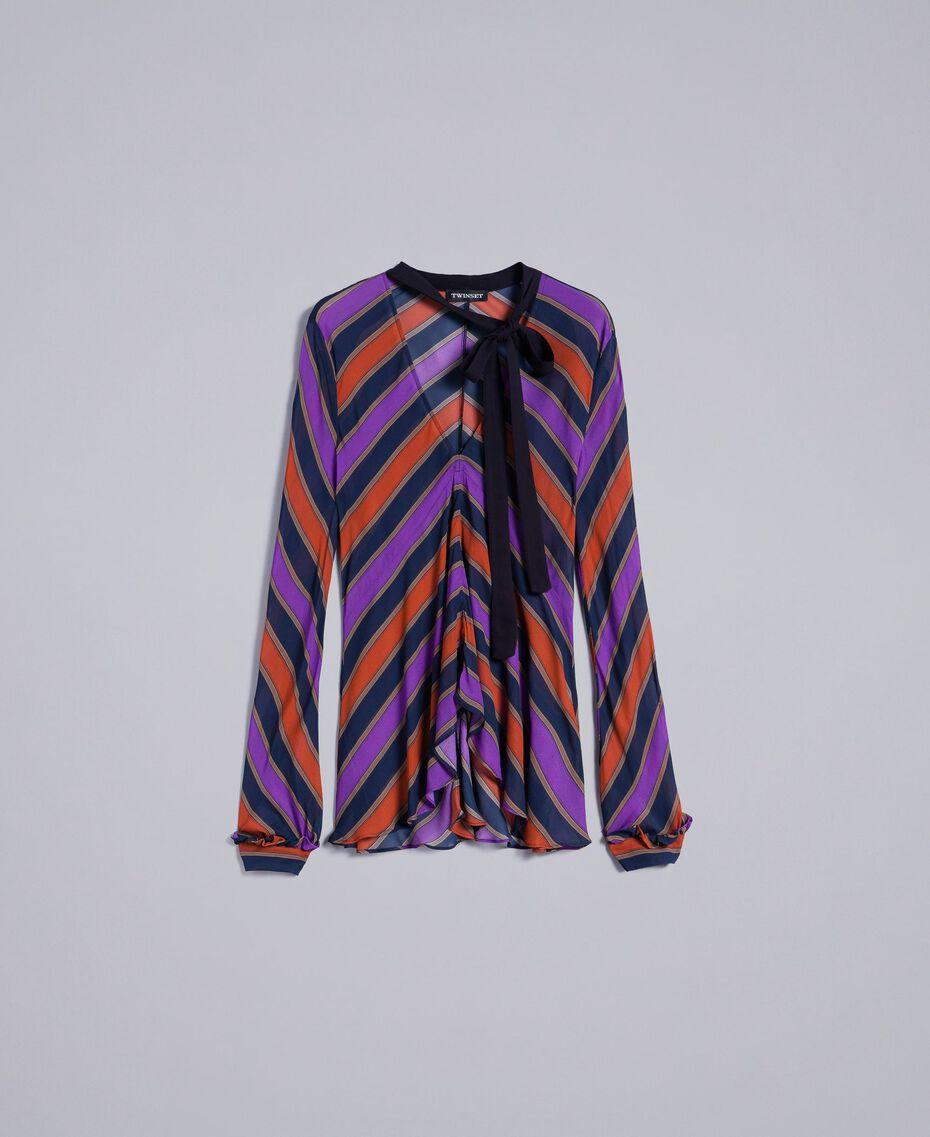 Blouse en crêpe georgette rayé Imprimé Rayure Multicolore Femme TA8292-0S