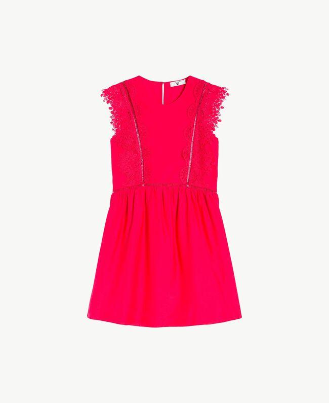 "Kleid mit Spitze ""Pink Twist""-Rot Frau BS8FBB-01"