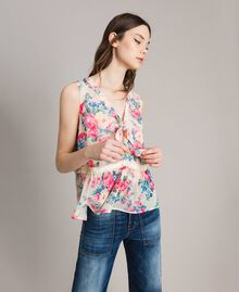 Georgette top with ribbon and flounce Black Flowers Print Woman 191MP2332-01