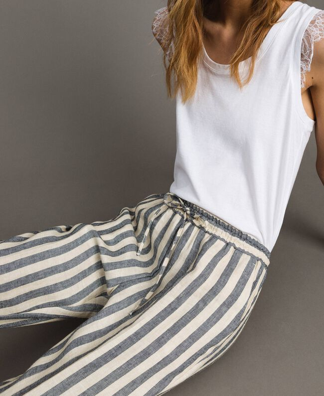 "Two-tone striped linen trousers Two-tone Black / ""Marzipan"" Beige Woman 191TT2314-03"