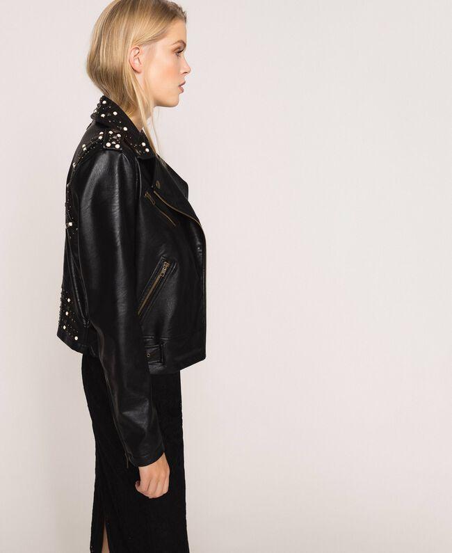 Chiodo in similpelle con borchie e perle Nero Donna 201TP241A-03