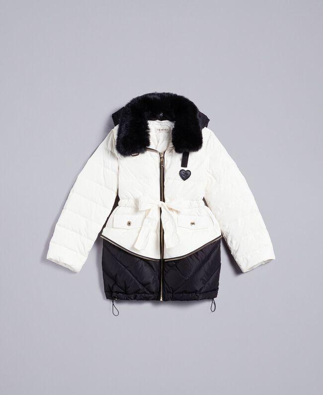 33f5ba4c7 Two-tone padded jacket with rabbit collar Bicolour Off White / Black Child  GA82AU-