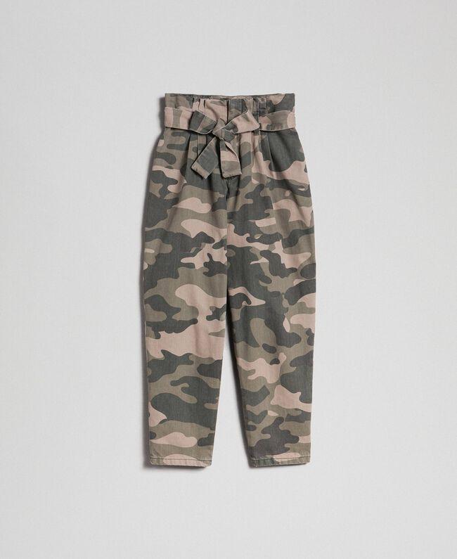 Pantalon cropped camouflage Imprimé Camouflage Femme 192TP2050-0S