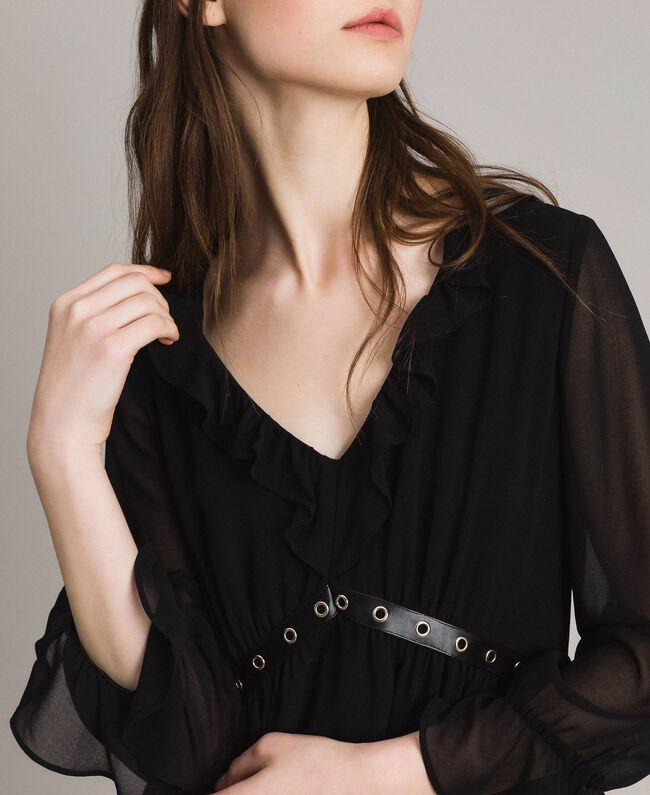 Georgette dress with frills Black Woman 191MP2391-04
