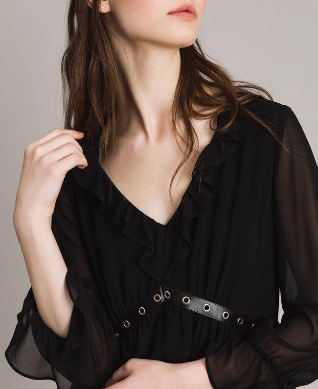 Robe en georgette à froufrous Noir Femme 191MP2391-04