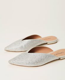 Chaussures slippers avec strass Blanc «Strass Crystal» Femme 211TCT090-01
