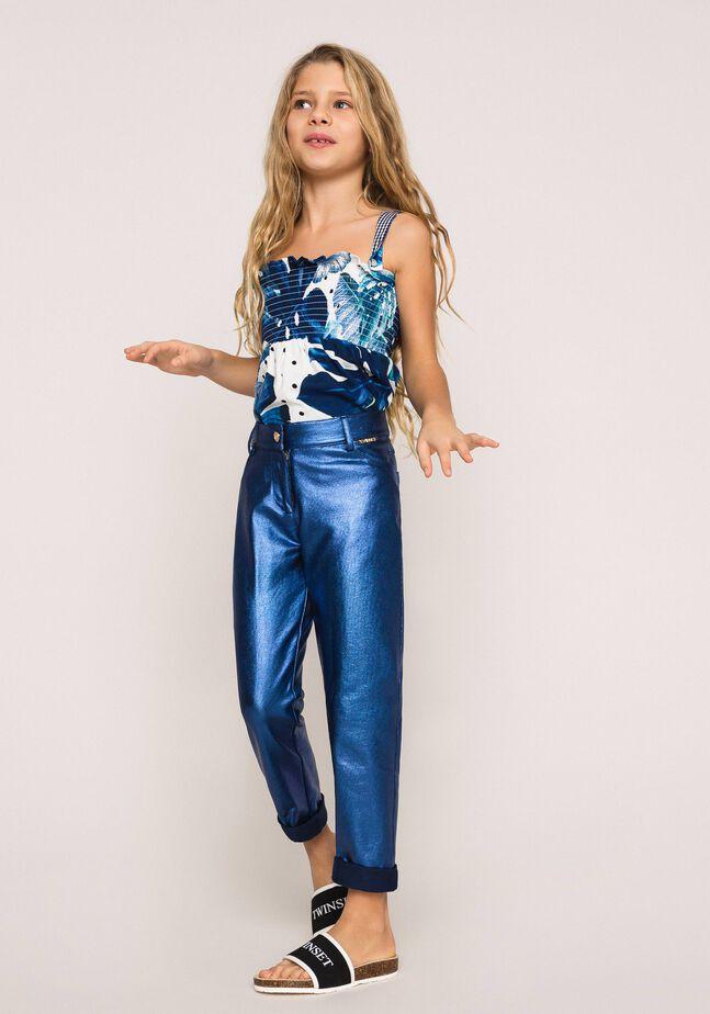 Pantaloni con spalmatura iridescente