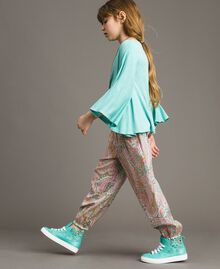 Muslin trousers with paisley print Paisley Print Child 191GJ2511-0S