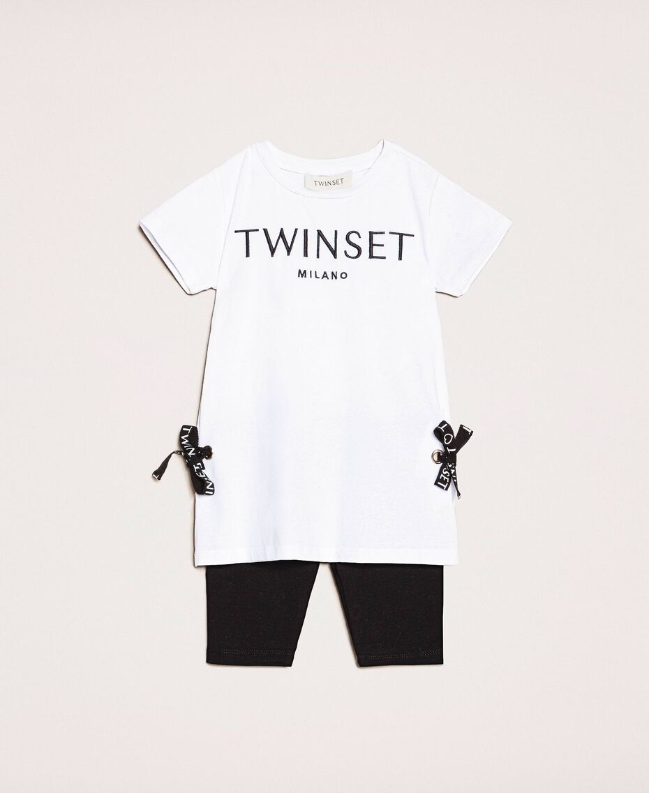 """Maxi T-shirt with logo and leggings Two-tone """"Papyrus"""" White / Black Child 201GB2370-01"""