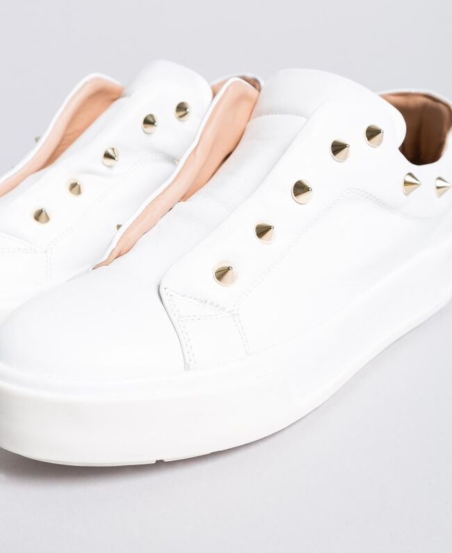 Leather studded sneakers White Snow Woman CA8TFA-04