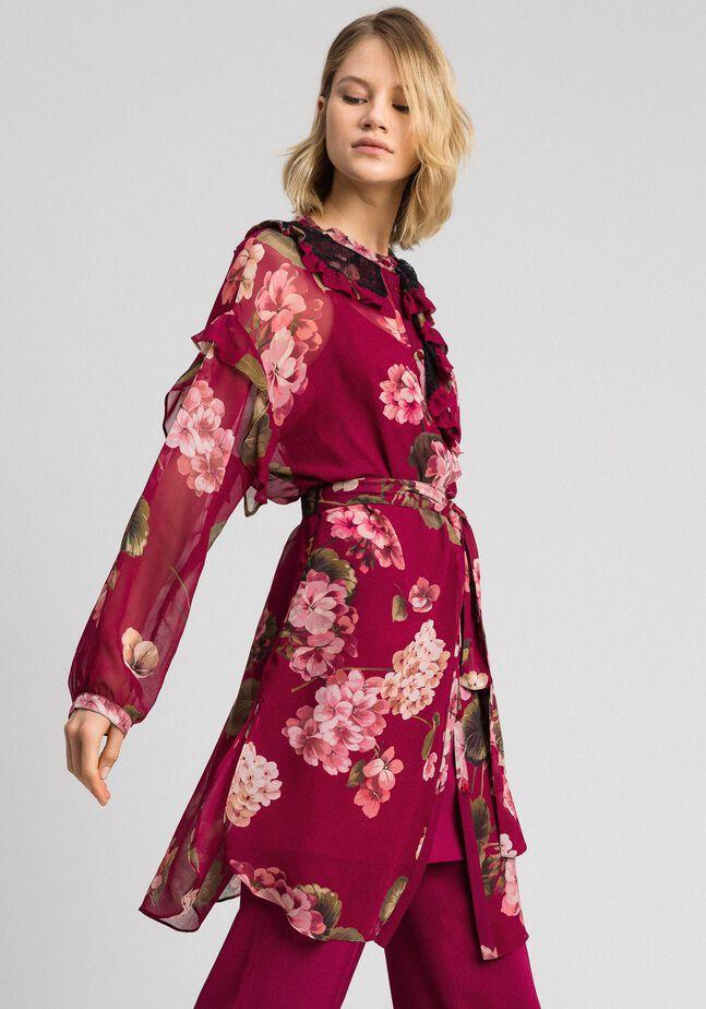 Floral print creponne shirt dress