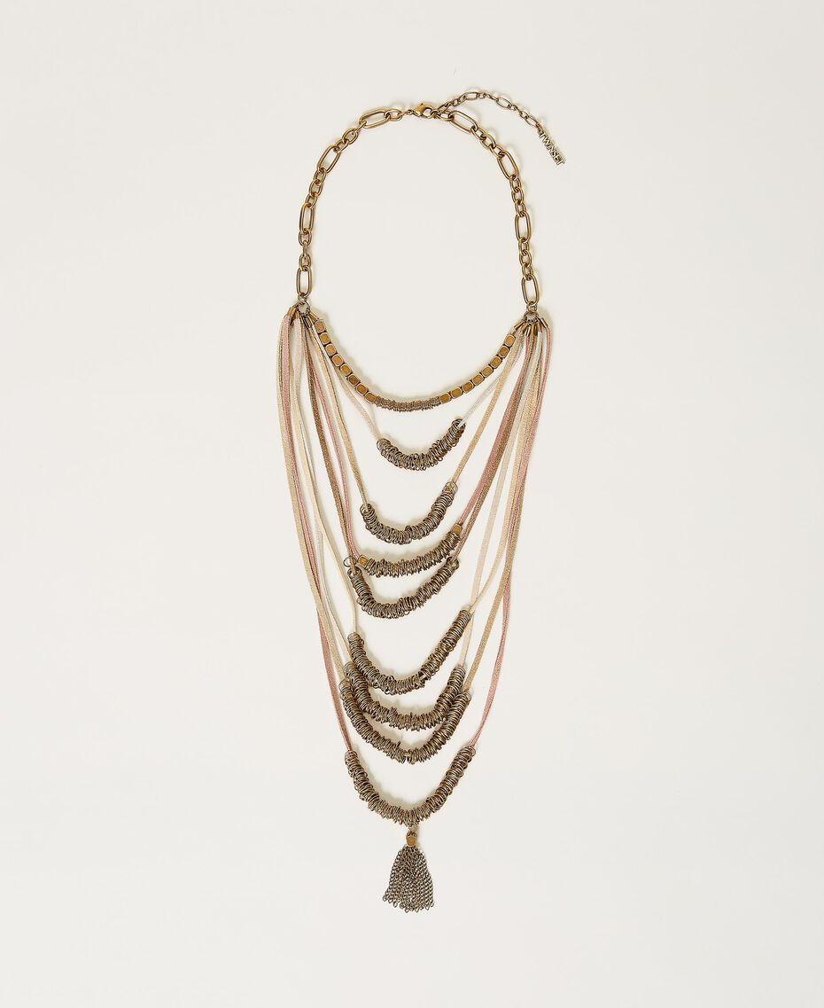 Collana multifilo con perline in metallo Multicolor Nastri Ottone Invecchiato Donna 211TO501G-01
