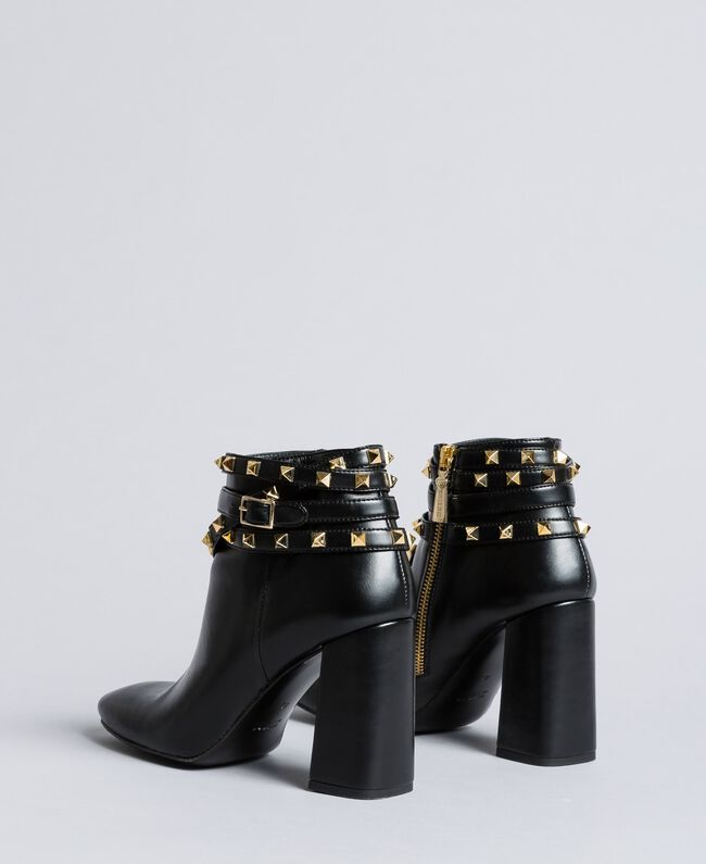 Faux leather ankle boots with studs Black Woman DA8PEJ-01
