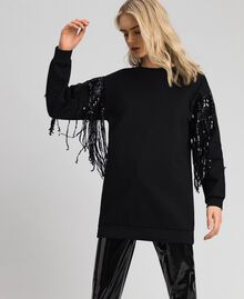 Maxi sweatshirt with sequinned fringes Black Woman 192MT2160-02