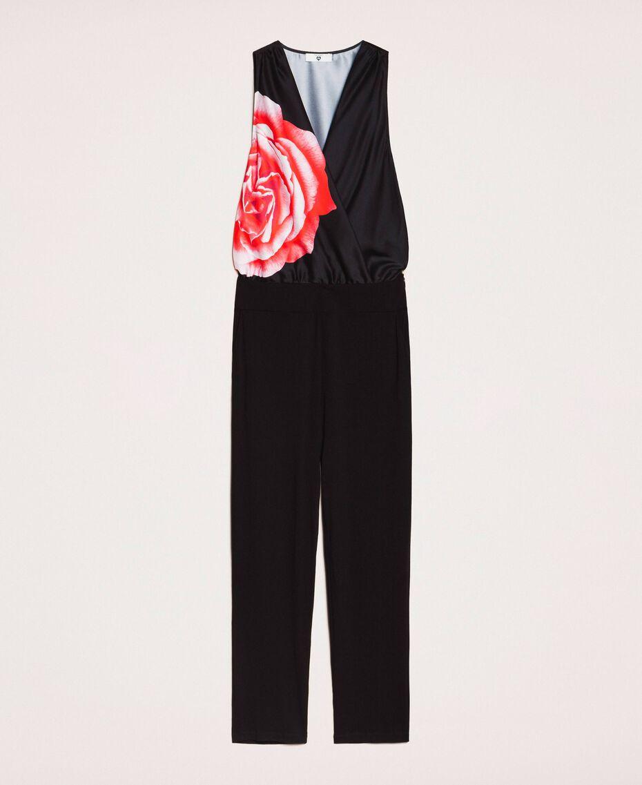 Satin jumpsuit with print Black Rose Print Woman 201LB28LL-0S