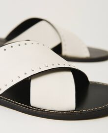 Leather sandals with rivets White Snow Woman 211TCT052-04