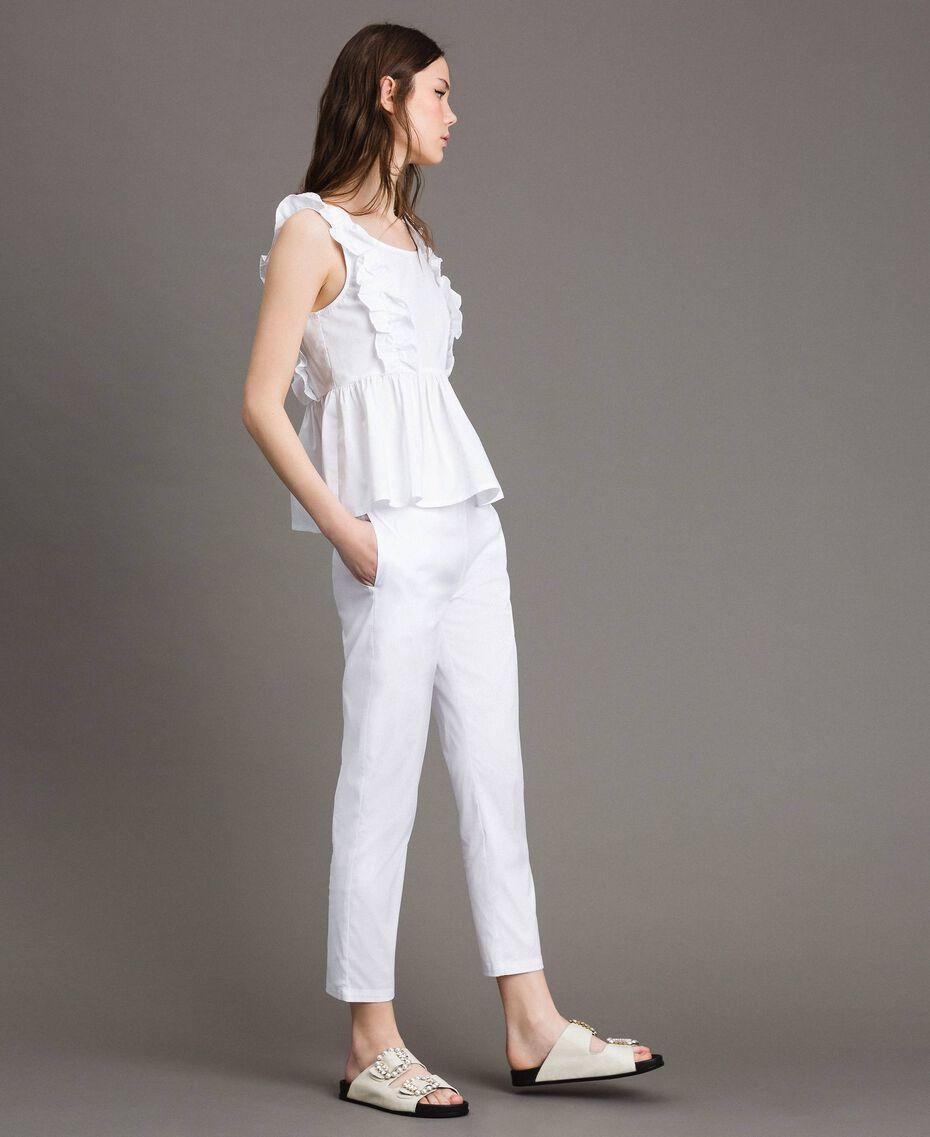 Leggings en popeline Crème White Femme 191MP2214-02