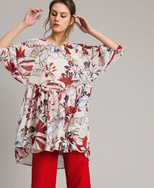 Floral print georgette tunic dress Exotic Ecru Print Woman 191ST2222-02