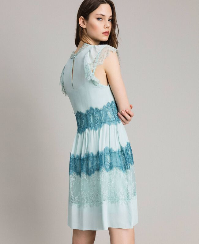 Georgette And Lace Dress Woman Blue Twinset Milano