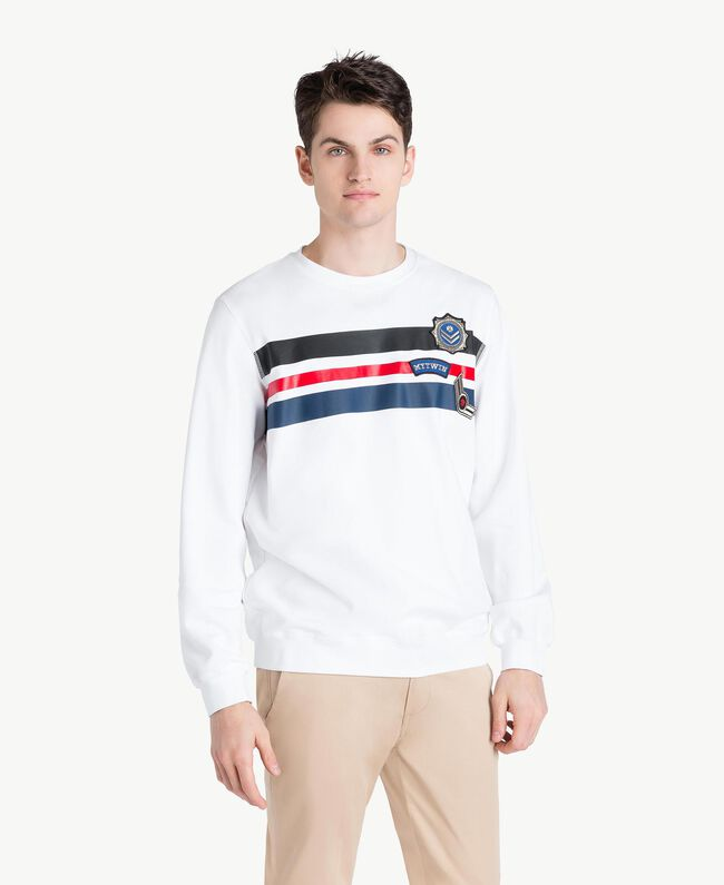 Sweat-shirt rayures Blanc Opaque Homme US821P-01