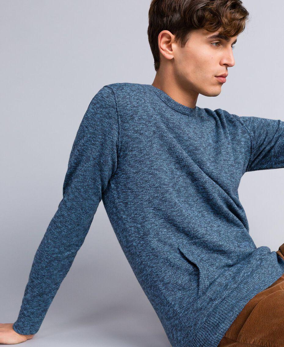 Jersey de algodón y lana Bicolor Gris Antracita / Azul Denim Hombre UA83BB-02