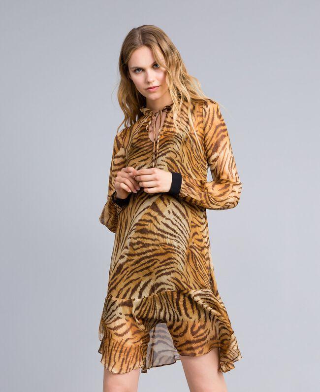 Платье из набивного шелкового шифона Набивной Тигровый женщина TA8253-01