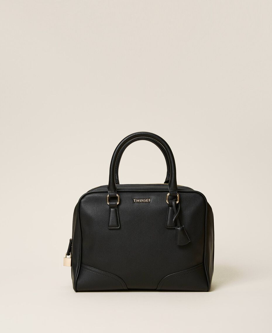 Bowler bag with dual compartment Black Woman 202TB7030-03