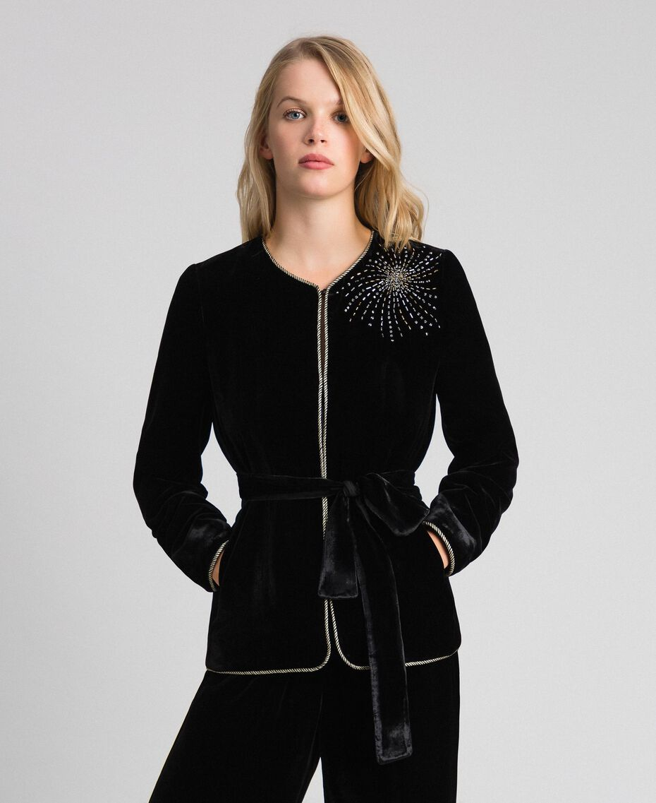Velvet jacket with embroidery Black Woman 192TT2421-01