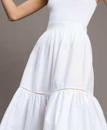 Jupe mi-longue en popeline Blanc Femme 191TT224B-04