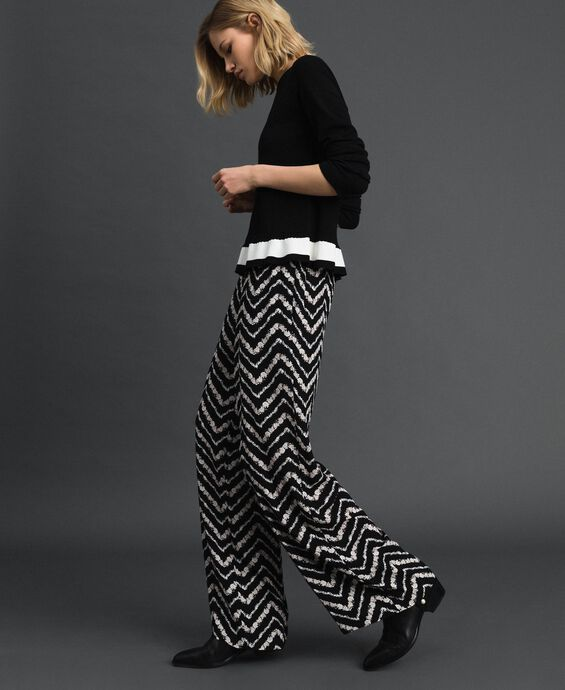 Floral and chevron print palazzo trousers