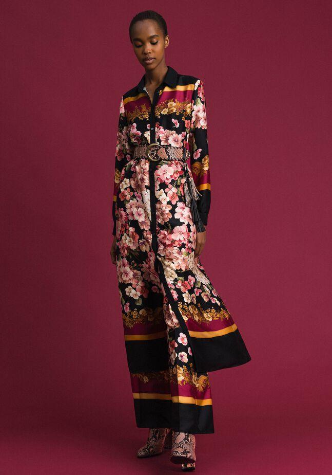 Длинное платье-шемизье с платочно-цветочным принтом