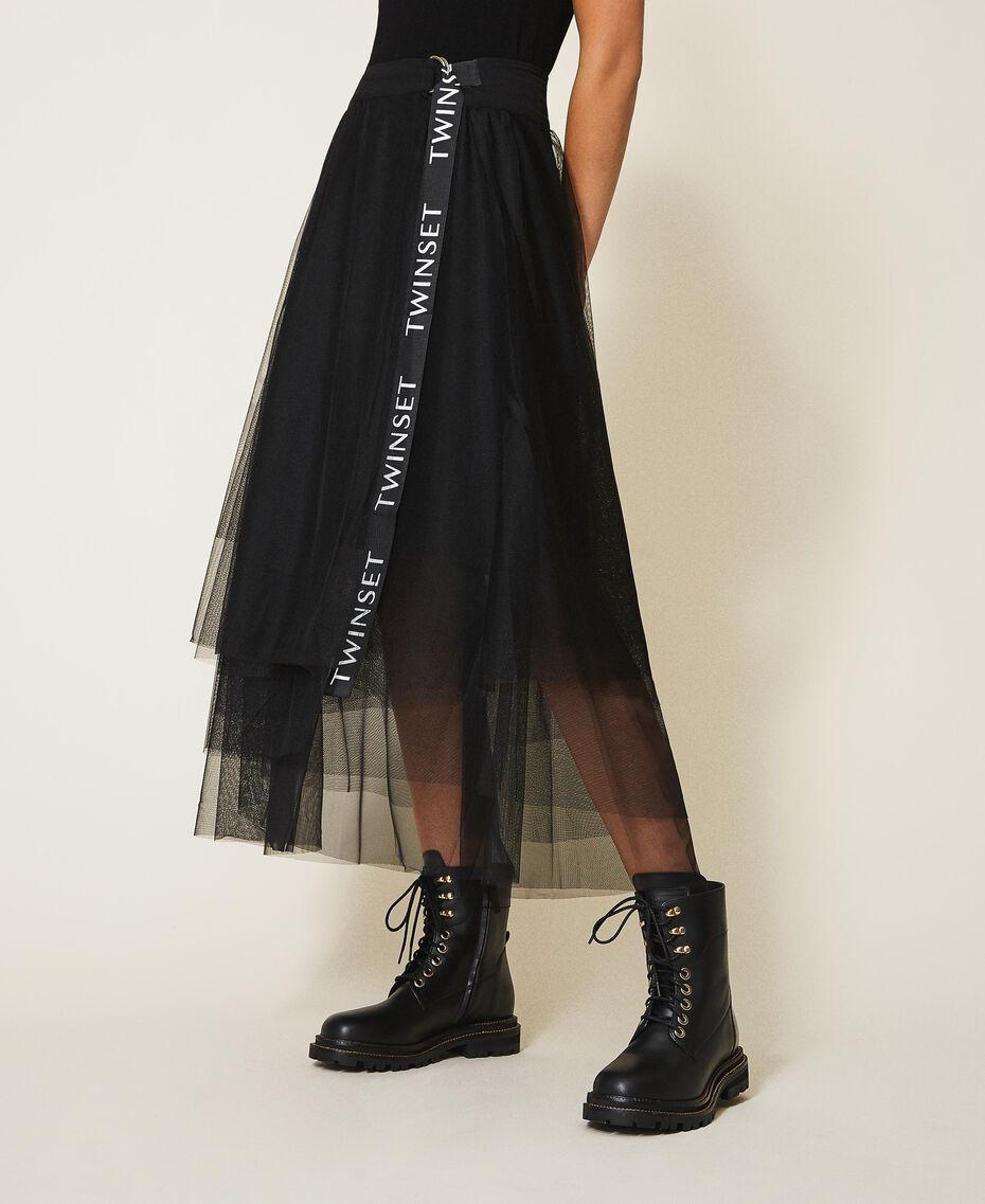 Jupe longue en tulle avec logo Noir Femme 202TT2T56-02
