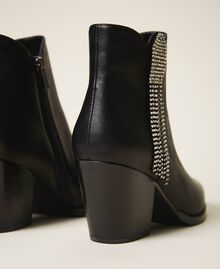 Ankle boots with rhinestone fringe Black Woman 202MCT062-03