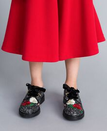 Embroidered lace-up shoes with glitter Bicolour Black / Silver Glitter Child HA88C5-0S
