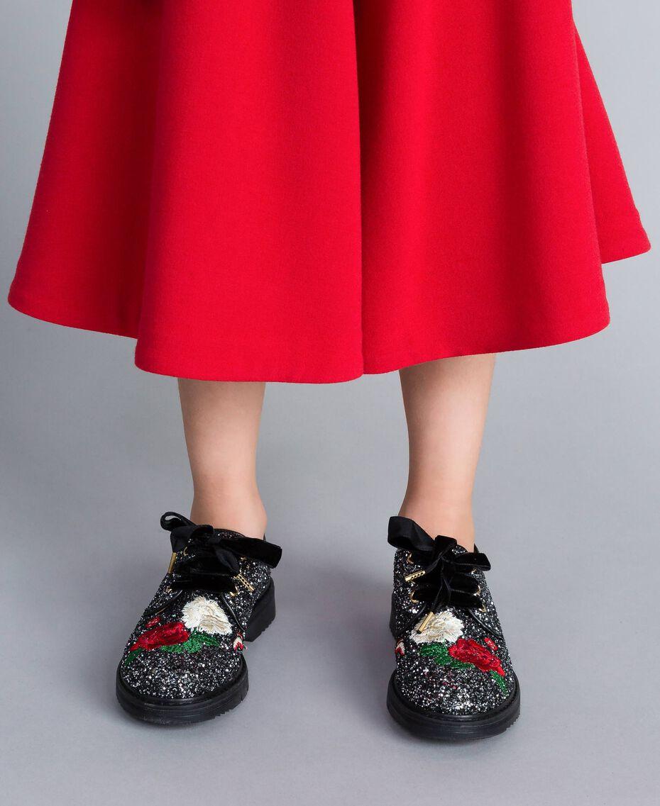 Schnürschuhe mit Glitter und Stickerei Zweifarbig Schwarz / Silberglitter Kind HA88C5-0S