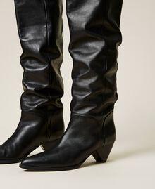 Bottes cuissardes en cuir avec talon conique Noir Femme 212TCT110-02