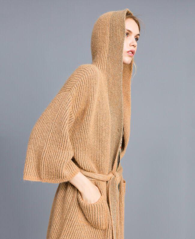 Knitted lurex cardigan Camel Gold Woman TA832B-04