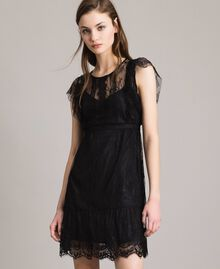 Chantilly lace dress with belt Black Woman 191ST2121-01