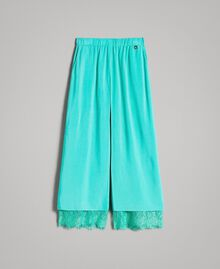 "Flowing fabric trousers with lace ""Island Paradise"" Light Blue Child 191GJ2430-01"