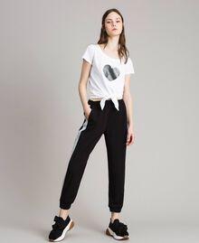 Jogging trousers with lurex panels Black Woman 191LL25KK-01