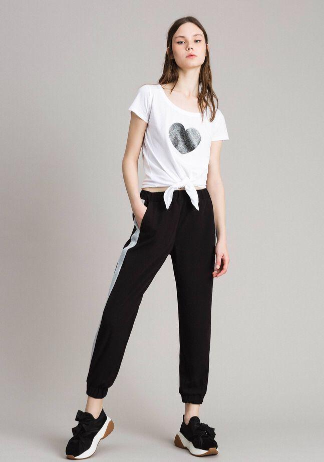 Pantalon de jogging avec découpes en lurex