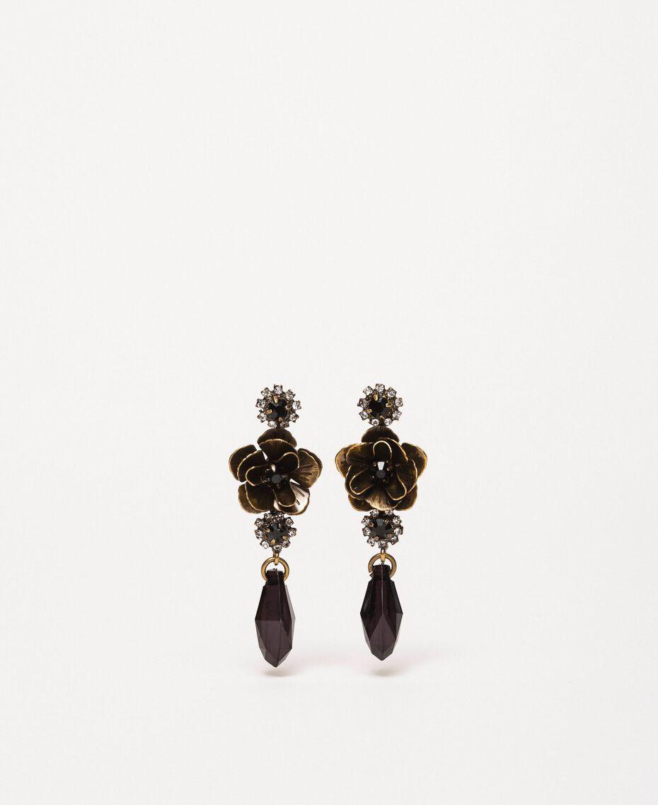 Ohrringe mit Blume und Tropfenanhänger Schwarz Frau 201TA4308-01